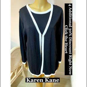 Karen Kane 2 Piece Black& White Sweater Set Sz 1X